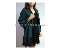 Cashmere wraps shawls 3 ply in dark green at YoursElegantly