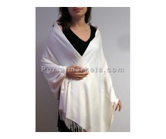 White winter cashmere shawls wraps at YoursElegantly