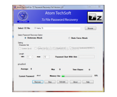 Atom TechSoft 7z password recovery software